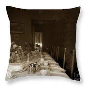 Dining Room Table Circa 1900 Throw Pillow