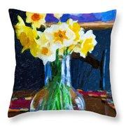 Dining With Daffodils Throw Pillow by Jo-Anne Gazo-McKim