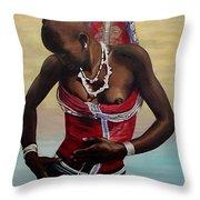 Dinka Girl In Beaded Wrap 2 Throw Pillow