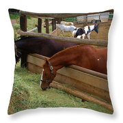 Dinner At The Ranch Throw Pillow