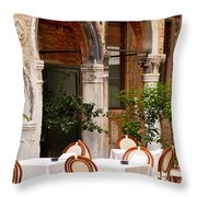Dinner Tables In Venice Throw Pillow