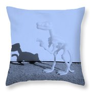 Dino Cyan Throw Pillow