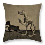 Dino Dark Medium Sepia Throw Pillow