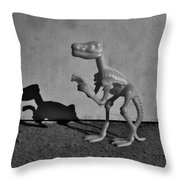 Dino Dark B W Throw Pillow