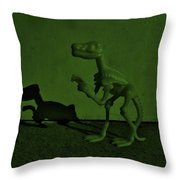Dino Dark Olive Throw Pillow