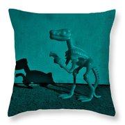 Dino Dark Turquoise Throw Pillow