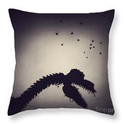 Dino In The City Throw Pillow