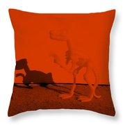 Dino Orange Throw Pillow