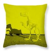 Dino Yellow Throw Pillow
