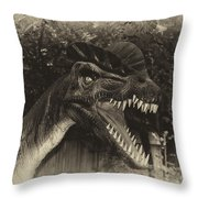Dino's At The Zoo Come Here Cameraman In Heirloom Finish Throw Pillow