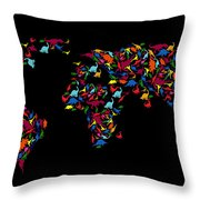 Dinosaurs Map Of The World   Throw Pillow by Mark Ashkenazi