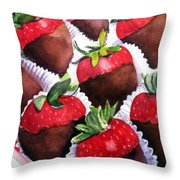 Dipped Strawberries Throw Pillow