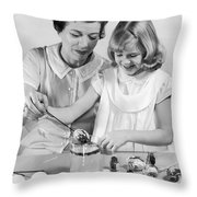 Dipping Easter Eggs Throw Pillow