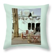 Directors Chairs In Front Of The Ship The Queen Throw Pillow