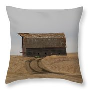 Dirt Road To An Old Leaning Barn Throw Pillow