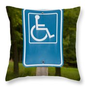 Disabled Parking Sign Throw Pillow