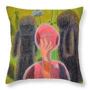 Disappearance Of The Woman And Her Own Two Stone Children With Clouds On Wheels Throw Pillow