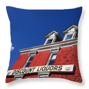 Discount Liquor Store Throw Pillow