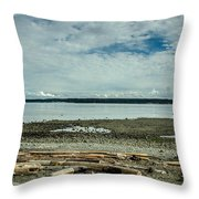 Low Tide Along The Discovery Passage Throw Pillow