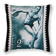 Discus Vintage Postage Stamp Print Throw Pillow