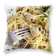 Dish Of Spaghetti With Clams Throw Pillow
