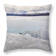Disintegrating Candelized Melting Ice On Lake Shore Throw Pillow