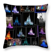 Disney Magic Kingdom Castle Collage Throw Pillow