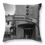 Disneyland Downtown Disney Signage 03 Bw Throw Pillow