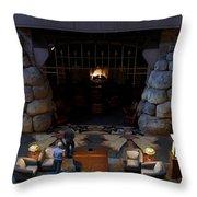 Disneyland Grand Californian Hotel Fireplace 02 Throw Pillow