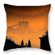 Distant Bridge Throw Pillow