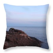 Distant Freighter Throw Pillow