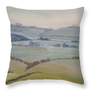 Distant Hills Fields And Hedges Painting Throw Pillow