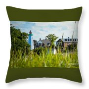 Distant Light House Throw Pillow