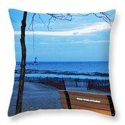 Distant Lighthouse Throw Pillow