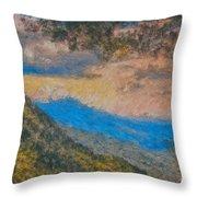 Distant Mountains - Digital Impression Paint Throw Pillow