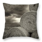 Distant Thunderstorm Approaches Hay Bales E90 Throw Pillow