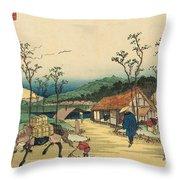 Distant View Of Mount Asama From Urawa Station Throw Pillow by Ikeda Yoshinobu