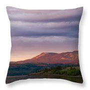 Distant Yukon Mountains Glowing In Sunset Light Throw Pillow
