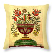 Distelfink With Flowers Throw Pillow