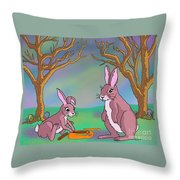 Distracted Easter Bunnies Throw Pillow