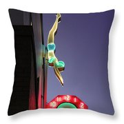 Dive In Retro Neon Throw Pillow