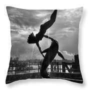 Diver And Dolphin Throw Pillow