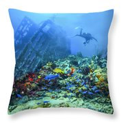 Diver At The Wreck Throw Pillow