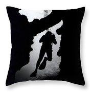Diver Silhouette  Throw Pillow