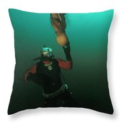 Diver With Giant Octopus Octopus Throw Pillow