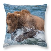 Diving For Salmon Throw Pillow