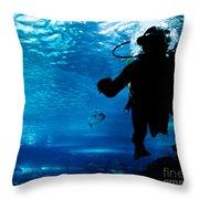 Diving In The Ocean Underwater Throw Pillow