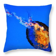 Diving Jellyfish Throw Pillow