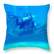 Diving The James Bond Movie Wreaks Throw Pillow