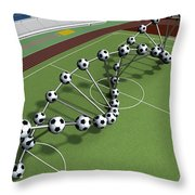Dna String Of Soccer Player On The Field Of Stadium Throw Pillow
